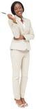 Myślący bizneswoman w kremowym kostiumu Obraz Stock
