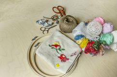 Mylinenojn. Needles, scissors, colored thread and frame necessary tools for decorative embroidery Stock Images