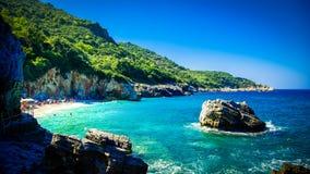 Mylopotamos海滩,皮立翁山,希腊 免版税库存照片