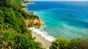 Mylopotamos海滩,皮立翁山,希腊 免版税库存图片