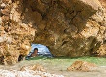 Mylopotamos beach, Pelio, Greece. Fun at Mylopotamos beach, Pelio, Greece Royalty Free Stock Photography