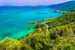 Mylopotamos linia brzegowa w Pelion terenie Grecja zdjęcie stock