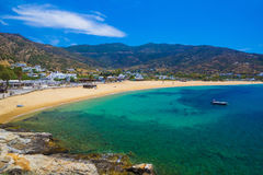 Mylopotas beach, Ios island, Cyclades, Aegean, Greece. View to Mylopotas beach, Ios island, Cyclades, Aegean, Greece royalty free stock images