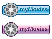 MyMovies icon. Blue and pink icon with film reel Royalty Free Stock Images