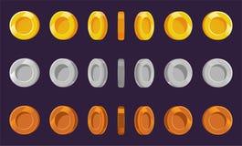 Myntälvaark En uppsättning av guld-, silver- och bronsmynt på en purpurfärgad bakgrund Animering för dataspelar Vektor Illustrati vektor illustrationer