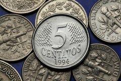 Mynt av Brasilien Fotografering för Bildbyråer