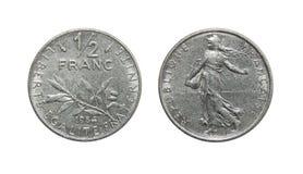 Mynt av den Frankrike 1/2 öppenhjärtigen royaltyfria foton