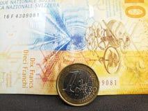 mynt av ett euro och schweizisk sedel av tio franc arkivbild