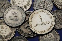 Mynt av Förenadeen Arabemiraten Arkivfoton