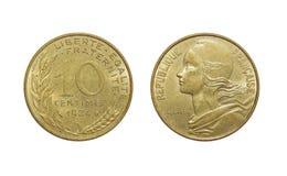 Mynt av Frankrike 10 centimes arkivbilder