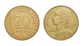 Mynt av Frankrike 20 centimes royaltyfri bild