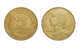 Mynt av Frankrike 5 centimes royaltyfri foto