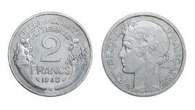 Mynt av Frankrike 2 franc royaltyfria foton