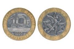Mynt av Frankrike tio franc arkivbilder