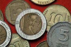 Mynt av Israel Premiärminister Golda Meir fotografering för bildbyråer