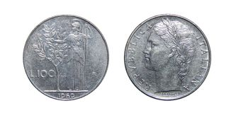 Mynt av Italien 100 lira Arkivbild