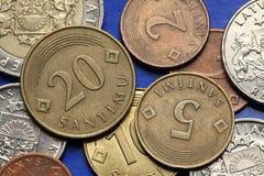 Mynt av Lettland royaltyfri fotografi