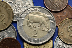 Mynt av Lettland arkivbild