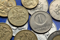 Mynt av Lettland royaltyfria foton