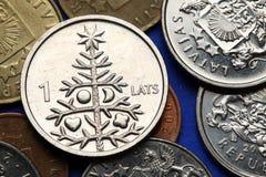 Mynt av Lettland royaltyfri bild