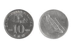 Mynt av Malaysia på en vit bakgrund sen 10 Royaltyfri Fotografi