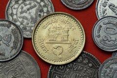 Mynt av Nepal Janaki Mandir tempel i Janakpur arkivbild