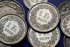 Mynt av Schweiz Arkivbilder