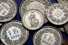 Mynt av Schweiz Arkivfoto
