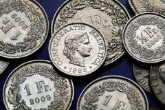 Mynt av Schweiz Arkivbild