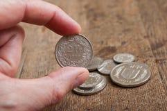 Mynt av Schweiz Fotografering för Bildbyråer