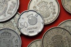 Mynt av Spanien Seville expo 92 Royaltyfria Foton