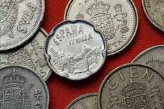 Mynt av Spanien Seville gränsmärken arkivfoton