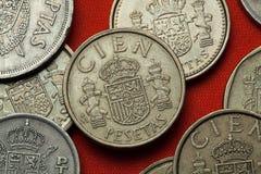Mynt av Spanien Spanskt nationellt emblem Royaltyfri Bild