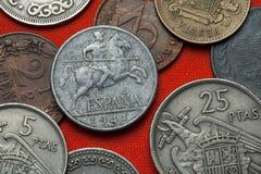 Mynt av Spanien under Franco Royaltyfri Bild