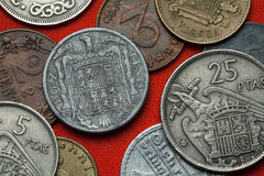 Mynt av Spanien under Franco Arkivbild