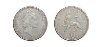 Mynt av Storbritannien 10 encentmynt Fotografering för Bildbyråer