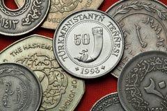 Mynt av Turkmenistan royaltyfri fotografi