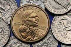 Mynt av USA Sacagawea dollar Royaltyfria Bilder