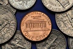 Mynt av USA USA-cent Lincoln minnesmärke Arkivfoto
