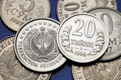 Mynt av Uzbekistan arkivfoton