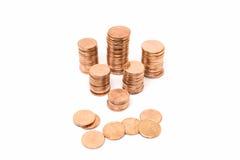 Mynt bronsmyntbunt på vit bakgrund Fotografering för Bildbyråer