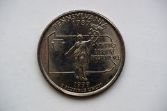 Mynt 1/4 dollar `-Washington Quarter ` Pennsylvania Royaltyfri Bild