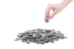 mynt ett polerade zloty Arkivfoton