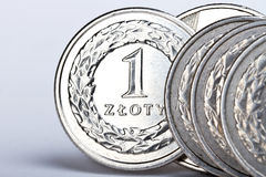 mynt ett polerade zloty Arkivbild