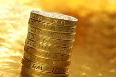 mynt ett pund Arkivfoton