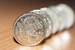 mynt ett pund Arkivbild