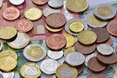Mynt EUR och PLN Fotografering för Bildbyråer