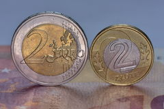 Mynt EUR och PLN Royaltyfri Foto