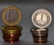 Mynt EUR och PLN Royaltyfria Foton