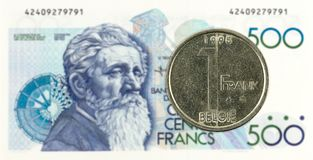 1 mynt för belgisk franc mot anmärkning för belgisk franc 500 royaltyfri foto
